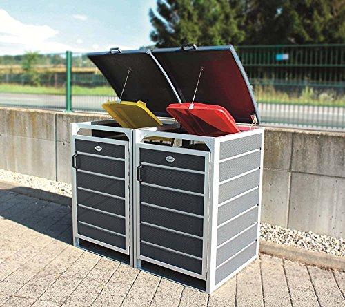 Prewood WPC Mülltonnenbox, Mülltonnenverkleidung für 2x 120l Mülltonne grau // 70x136x113 cm (LxBxH) // Gerätebox, Gartenbox & Mülltonneneinhausung - 3