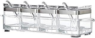 QFDM Bouteille de Rangement Cuisine Organisateur et Stockage Conteneur Acrylique Boîte d'assaisonnement Spice Jar Set Cond...