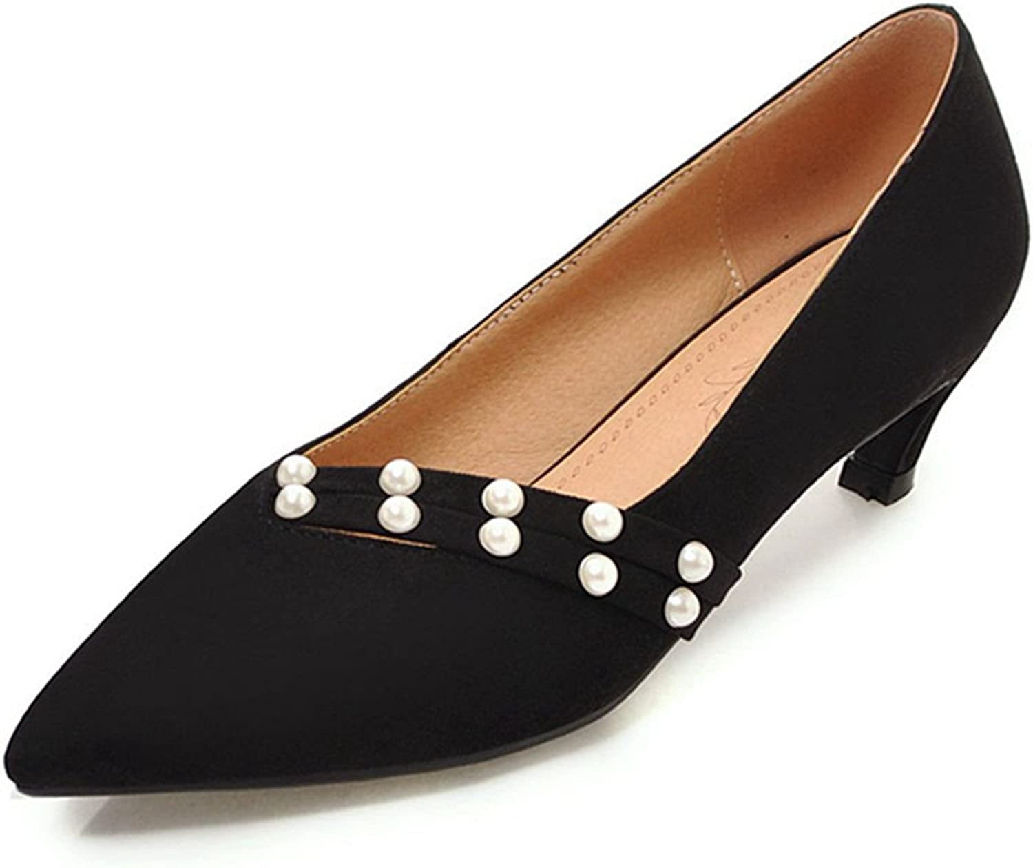 Women Pumps, Gorgeous Slip-on Pointed Toe Thin Heel shoes with Pearls