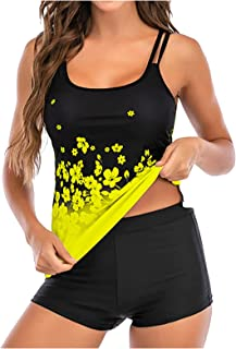 ReooLy Women's Two Piece Swimsuits Summer Tummy Control Swimming Wear Sports Suspenders Tank Tops High Waisted Boyshorts T...