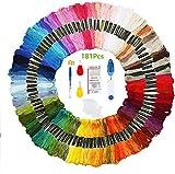 HEPAZ Filo da Ricamo,181Pcs Punto Croce Kit, 150 Colori Filo da Cucito Kit Fili per Ricamo,Amicizia Braccialetti Mestieri