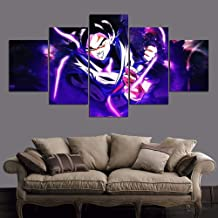 Large 5 Panels Modern Black Goku Canvas Print Wall Art Dragon Ball Paintings Printed on Canvas Home Decoration Pictures Mo...
