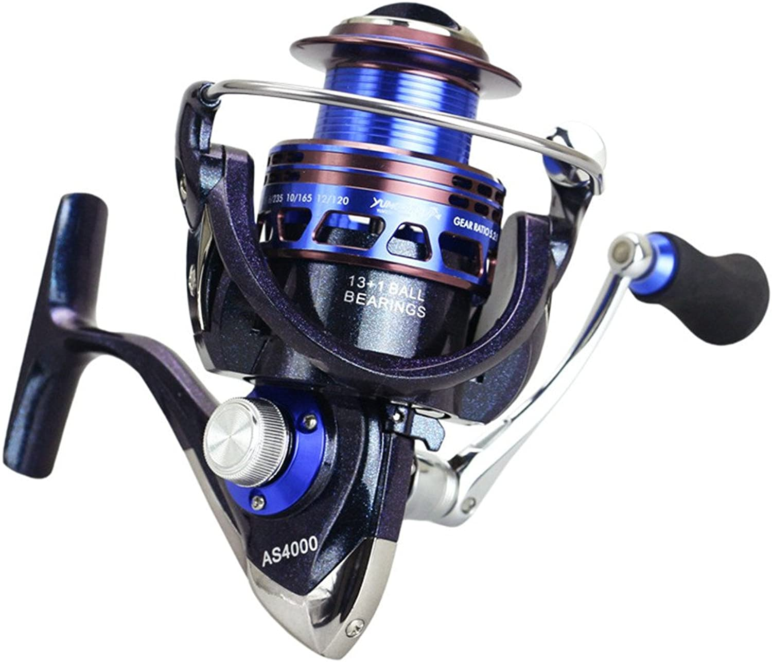 Smooth Spinning Reel Fishing Reel Hand Wheel Spinning Fishing Reel Baitrunner Reel 13+1 Bearings Left Right Interchangeable Handle for Saltwater Freshwater Fishing Gear Ratio 5.2 1 with Double Drag Br