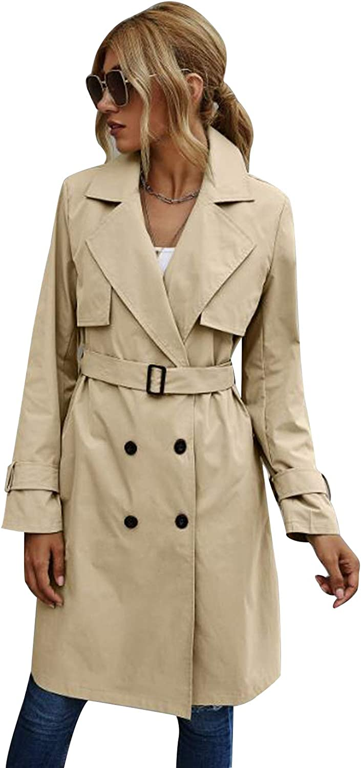Womens Trench Genuine 2021 spring and summer new Free Shipping Coat Long Sleeve Solid Breasted Color Belte Double
