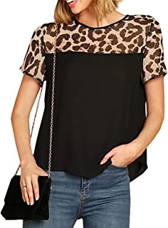 Women's Leopard Print Patchwork Graphic Funny T-Shirt Summer Short Sleeve Casual Loose Top Blouse