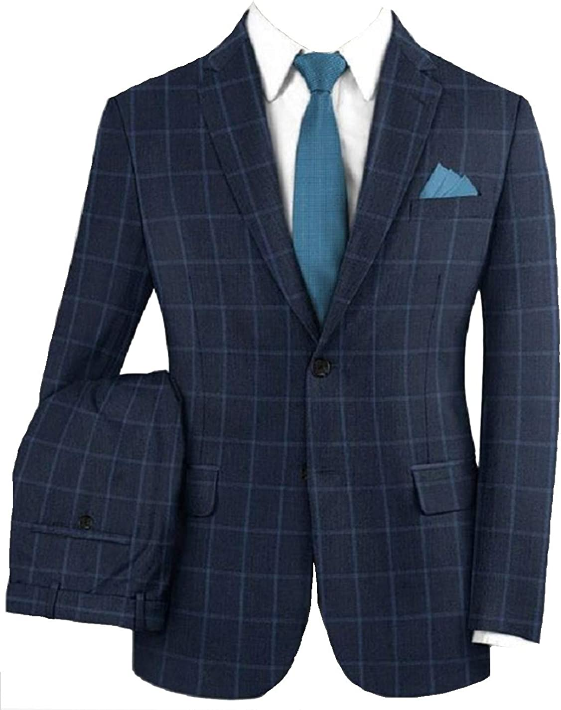 Michealboy Men's Formal Suit 2 Piece Checkered Notched Lapel Single Breasted Office Wear