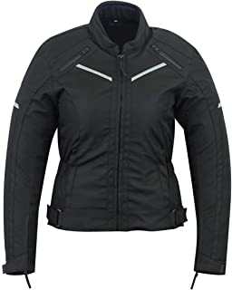 WOMENS MOTORCYCLE ARMORED HIGH PROTECTION WITH ARMOR WATERPROOF ALL WEATHERS JACKET BLACK WJ-1834BK