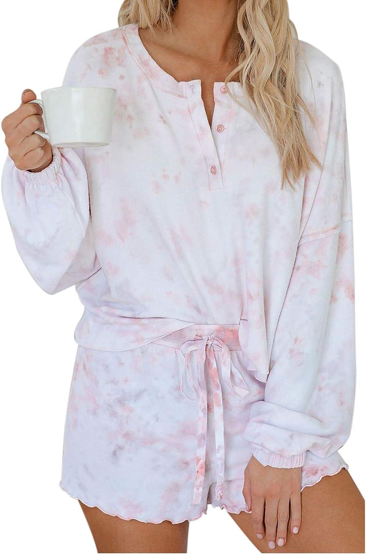 Women's Tie-Dye Ruffled Long Sleeve Pajamas Set Soft Top Shorts Pj Set Nightwear Sleepwear Loungewear Homewear