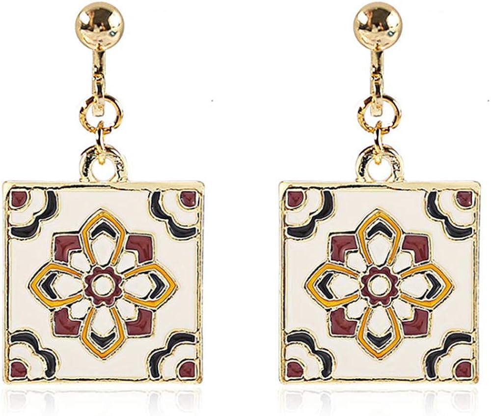 HAPPYAN Retro Gold Color Square Tile Flower Shape Screw Clip on Earrings No Pierced for Women Ear Clip
