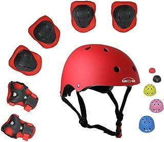کودکان و نوجوانان Lucky-M 7 قطعه مجموعه ورزشی محافظ در فضای باز پسران دختران دوچرخه سواری قابل تنظیم ایمنی کلاه ایمنی تنظیم شده [پد زانو و آرنج و مچ دست] برای دوچرخه اسکیت بازی غلتکی دوچرخه (3-8 سال قدیمی)