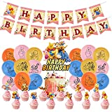 32Pcs Winnie Party Supplies - simyron Themed Party Decorations, Winnie The Pooh Birthday Decoration Include Cake Topper,Birthday Banner Balloons for Winnie and Friends Decoration