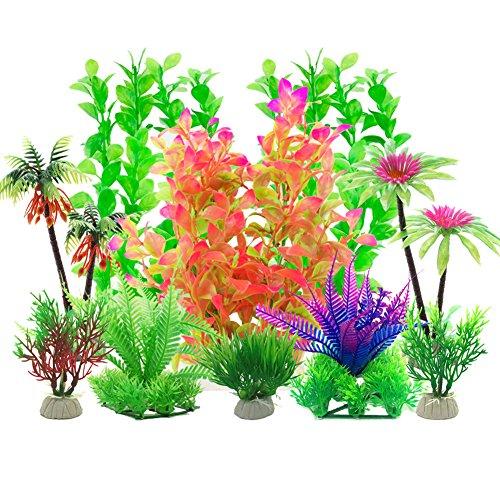 Aisamco Plante d'aquarium Artificielle,10 Pièces Gros Taille Aquarium Cachette Plastique en Décoration, Plastique pour Décoration d'aquarium