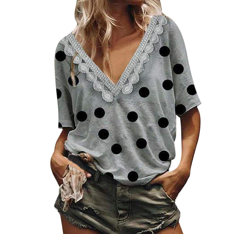 Amlaiworld Sexy Women Tee Tops Dot Printing V-Neck Short Sleeve Tops Summer T-Shirt Blouse Lightwear Shirt Tunic Shirt