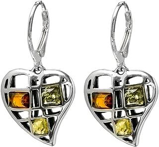 Multicolor Amber Sterling Silver Heart-shaped Leverback Earrings