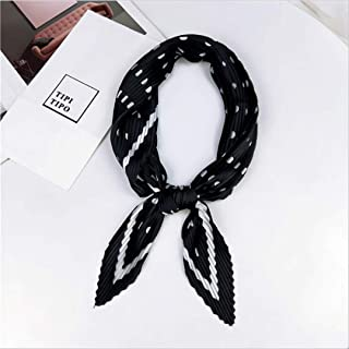 Women Silk Bandana Crinkle Neck Scarf Square Small Headband Pleating Silk Sation Print Stripe Neckwear 12 Dot Black Fit For Women