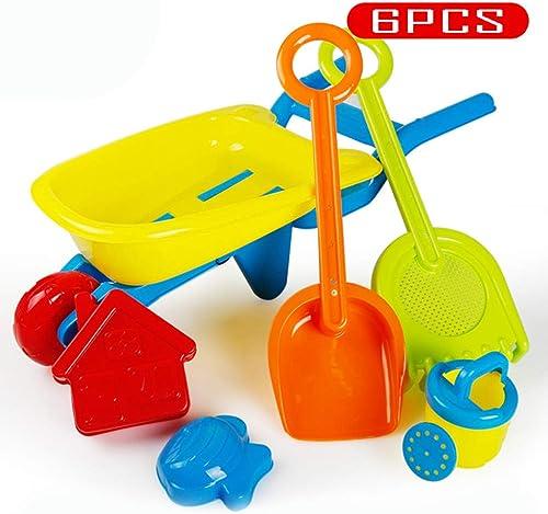KS Strandspielzeug-Set,6Tlg Draussen Wagen Kunststoff Strandspielzeug,Glatt Sicherheit Sandkastenspielzeug Für Kinder Verschlei st A
