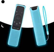 SIKAI Silicone Remote Case for Samsung BN59-01259B BN59-01259E BN59-01260A Smart TV Remote Battery Cover Shockproof Remote Skin Holder Anti-Slip Anti-Lost with Remote Loop (Glow in Dark-Blue)