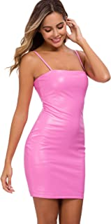 Sexy Leather Dresses for Women Party Club Night Spaghetti Strap Latex Dress Pink