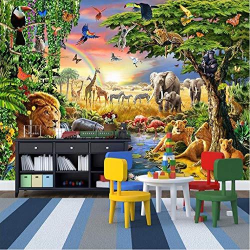 Wuyii fotobehang dieren olifant leeuw zebra kinderkamer slaapkamer achtergrond 3D fotobehang waterdicht 250x175cm