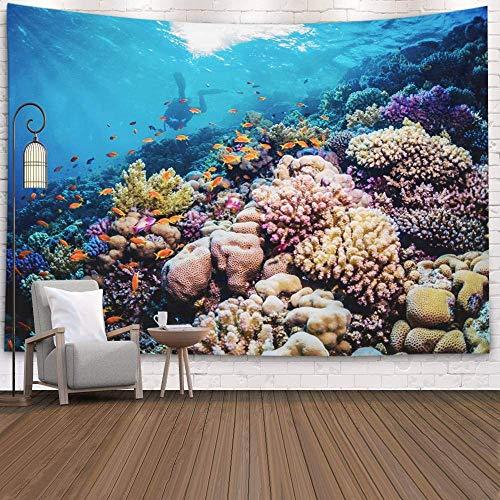 N\A Tapiz de Pared, tapices Deacutecor para Sala de Estar para el hogar por Printed for Coral Color Over The Reef Southern Red Sea, Naranja Gris