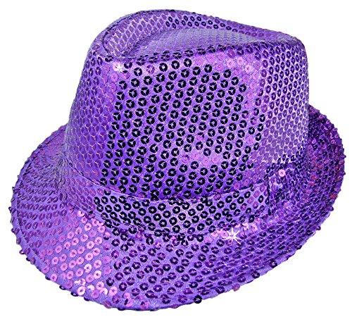 Das Kostümland Glitzernder Popstar Hut mit Pailletten - Lila - Partyhut zum Show, Disco und Faschingskostüm