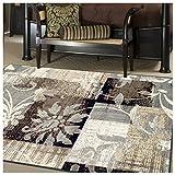 Superior Designer Pastiche Area Rug, Distressed Geometric Floral Patchwork Pattern, 8' x 10', Chocolate