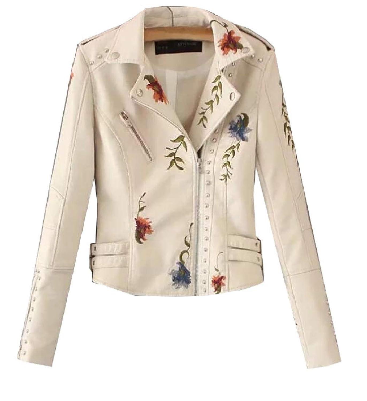 maweisong レディース刺繍ロングスリーブラペル偽フォークスレザージャケット