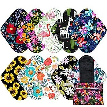7pcs Set 1pc Mini Wet Bag +6pcs 8 Inch Bamboo Charcoal Cloth Menstrual Pads/Reusable Sanitary Pads/Mama Panty Liners   All Randomly Prints