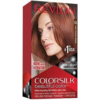 Revlon Colorsilk Beautiful Color, Permanent Hair Dye with Keratin, 100% Gray Coverage, Ammonia Free, 55 Light Reddish Brown