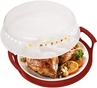HerPro Microwave Cover (2 Sets, Clear) and Plate Caddy (Red) Set | Anti-Splatter Guard, Lid with Steam Vents | Food Serving Tray | BPA Free and Dishwasher Safe | Microwaveable Kitchen Accessories