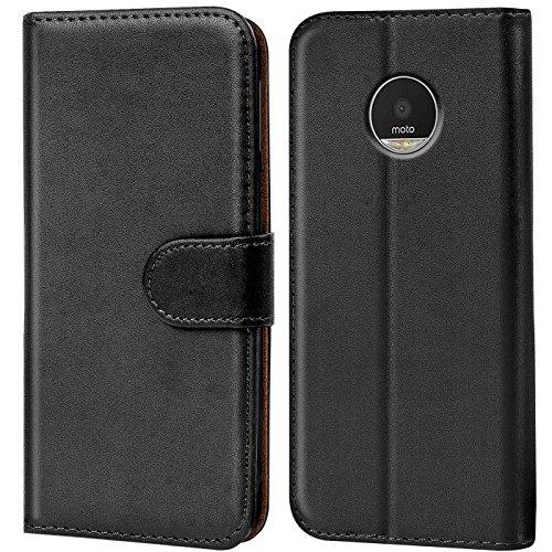 Verco Moto Z Play Hülle, Handyhülle für Motorola Moto Z Play Tasche PU Leder Flip Case Brieftasche - Schwarz