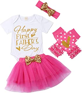 4PCS Set Newborn Infant Baby Girl Happy First Fathers Day Romper Top Tulle Tutu Skirt Leg Warms Headband Outfit