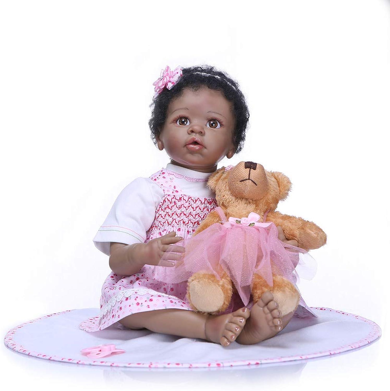 Nicery Reborn Baby Doll Realistic Soft Simulation Silicone Vinyl Cloth Body 2122inch 5255cm Indian African Dark Skin Magnetic Mouth Lifelike Vivid Boy Girl Toy White TShirt Pink Dress SHI55C015