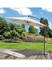 VOUNOT Sombrilla Voladiza Parasol Excentrico Colgante con Manivela para Terraza Jardín Playa Patio Exterior, Protección Solar UV, Redondo, 3m