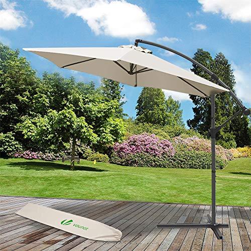 VOUNOT 3m Cantilever Garden Parasol, Banana Patio Umbrella with Crank Handle and Tilt for Outdoor Sun Shade, Beige