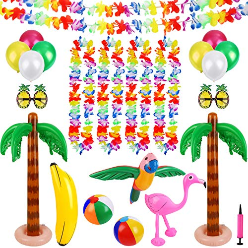 Ruisita Inflatable Luau Party Set 2 Pack Palm Trees 1 Pack Inflatable Parrot 1 Pack Inflatable Flamingo 2 Pack Beach Balls 1 Pack Banana 2 Pairs Pineapple Glasses for Summer Swimming Pool Game