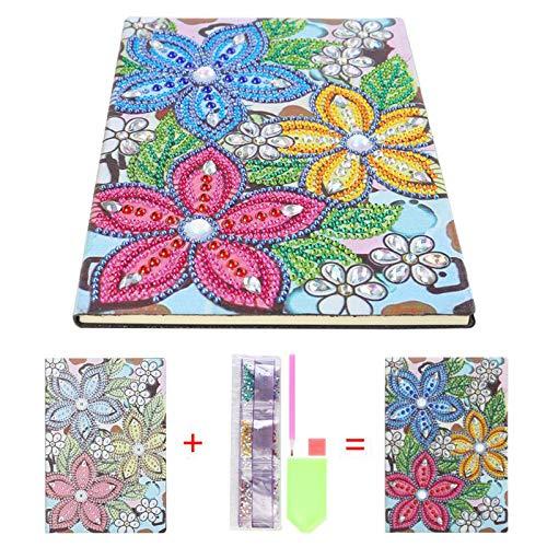 HAINA Cuaderno de pintura de diamante, 50 páginas, 5 A, con forma especial, bordado en cruz, diario