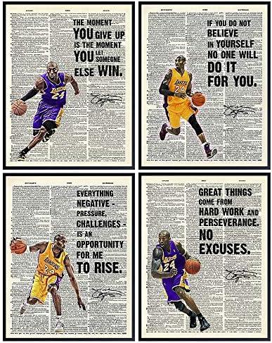 Kobe Bryant Wall Art Kobe Bryant Poster Set Gift for LA Los Angeles Lakers Basketball Fan Motivational product image