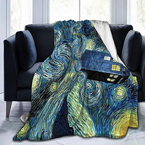 Manta de forro polar ultra suave, diseño de Doctor-Who, manta de viaje ligera y suave para hombres y niños de 201 x 152 cm