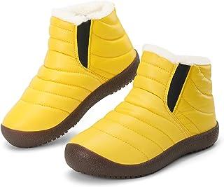 أحذية ثلج للأطفال الأولاد والبنات مبطنة بالفرو مضادة للانزلاق نعل مطاطي دافئ للشتاء في الهواء الطلق