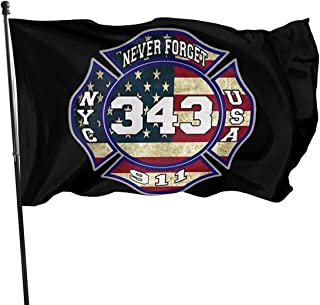 911 343 Fallen Firefighters Remembrance Decorative Garden Flags, Outdoor Artificial Flag for Home, Garden Yard Decorations 3x5 Ft