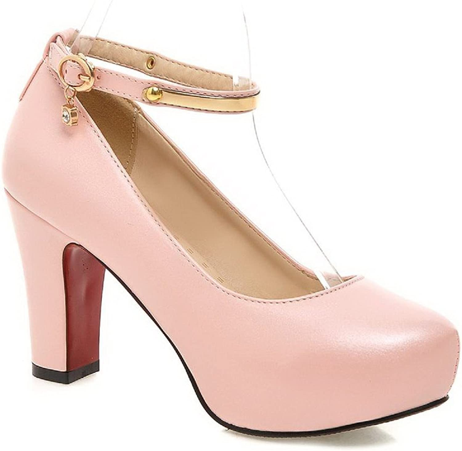 AmoonyFashion Women's Round Closed Toe High-Heels Soft Material Solid Buckle Pumps-shoes