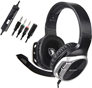 Sades Stereo Gaming Headset for Xbox One PS4 PC,Surround Sound Over-Ear Headphones Anti-Noise Mic,Volume Control Laptop, Mac,Smartphone, iPad -(R17 Black Silver)