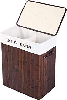 GOFLAME Bamboo Laundry Basket Folding, Dirty Laundry Hamper Dirty Clothes Basket Bin with Lid and Removable Liner, Two Sections with Large Storage, Handle Grip, Ideal for Bedroom Bathroom (Brown)