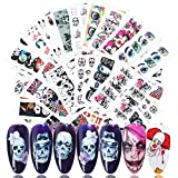 Halloween Nail Art Stickers Day of The Dead Nail Supplies Water Transfer Nail Decals with Skull Clown Ghost Hulk Vampire Rose Eye Spider Design DIY Charms Decals for Halloween Party Supply 25 Sheets