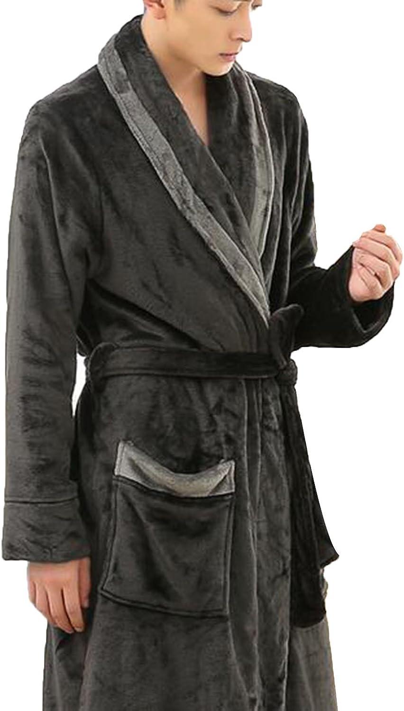 High Grade Men Thick Flannel Fleece Bathrobe Soft Homewear Pajamas Autumn/winter Robe