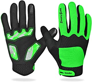 Work Glove Non-Slip Cycling Gloves Outdoor Touch Screen Gloves Terry Cloth Wipe Sweat Shock Riding Gloves Men (Color : Green, Size : S)