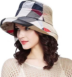 Stylish Bucket Hats for Women Foldable Outdoor Plaid Fisherman Sun/Rain Cap with Chin Strap