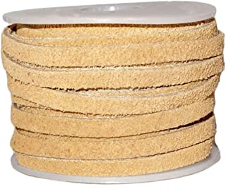 Genuine Suede Flat Leather Lace, Leather Cording for Jewelry & Crafts 4mm Marigold, 10 Meters (10.93 Yards)