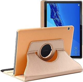 ebestStar - Funda Compatible con Huawei MediaPad T5 10.1 Carcasa Cuero PU, Giratoria 360 Grados, Función de Soporte, Dorado [T5 10.1: 243 x 164 x 7.8mm, 10.1'']